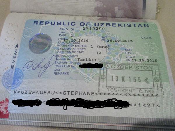 Le visa ouzbek